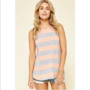 Striped racer back tank in peach/heather gray